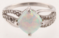 Silver Cushion Created Opal Swirl Ring - SZ 8 at PristineAuction.com