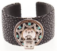 "Two-tone Turquoise Stingray Leather Cuff 7.5"" at PristineAuction.com"