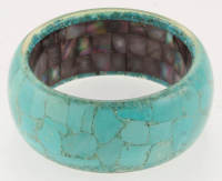 Genuine Turquoise & Black MOP Wide Bangle at PristineAuction.com