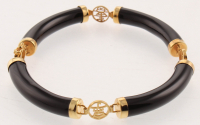 "18K over Sterling Silver Black Onyx Bracelet 7"" at PristineAuction.com"