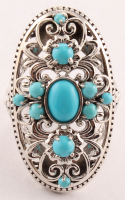 Sterling Silver Turquoise Elongated Ring - SZ 8 at PristineAuction.com