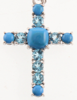 Silver Ceruleite & Blue Topaz Cross Pendant at PristineAuction.com
