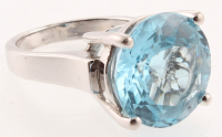 Silver 17.10ct Sky Blue Topaz Solitaire Ring - SZ 8 at PristineAuction.com