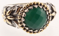 Silver Green Agate Hammered Flower Ring - SZ 7 at PristineAuction.com