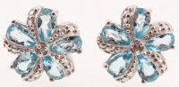 Silver Swiss Blue Topaz Flower Stud Earrings at PristineAuction.com