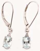 Sterling Silver Aquamarine & Topaz Dangle Earrings at PristineAuction.com