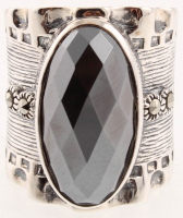 Sterling Silver Hematite & Marcasite Ring - SZ 7 at PristineAuction.com