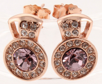 18K Rosegold Tone Swarovski Elements Stud Earrings at PristineAuction.com