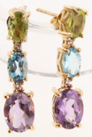 18K Gold Over Silver Gemstones Graduated Earrings at PristineAuction.com