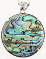 Silver 40mm Turquoise & Abalone Reversible Pendant at PristineAuction.com