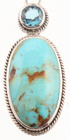 Silver Oval Turquoise & Swiss Blue Topaz Pendant at PristineAuction.com