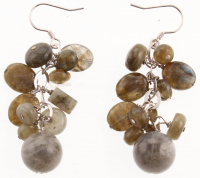 Sterling Silver Labradorite Cluster Drop Earrings at PristineAuction.com