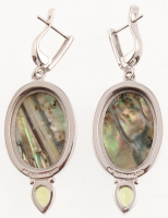 Sterling Silver Abalone & Peridot Drop Earrings at PristineAuction.com