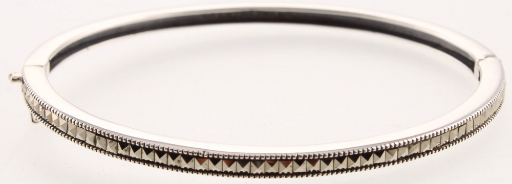 """Sterling Silver Marcasite Bangle 7.5"""" at PristineAuction.com"""