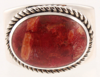 Sterling Silver Oval Coral East - West Ring - SZ 7 at PristineAuction.com