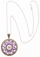 Silver Amethyst & Marcasite Medallion Pendant at PristineAuction.com