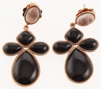 Silver Black Onyx & Rose Quartz Drop Earrings at PristineAuction.com