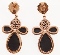 Silver Black Onyx & Rose Quartz Drop Earrings at PristineAuction.com