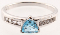 Sterling Silver Trillion Swiss Blue Topaz Ring - SZ 9 at PristineAuction.com