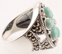 Sterling Silver Marcasite & Amazonite Ring - SZ 7 at PristineAuction.com