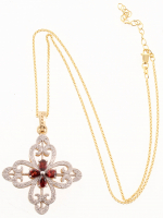14K Gold Vermeil Garnet Cross Pendant at PristineAuction.com