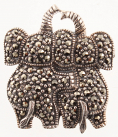 Silver Marcasite Double Elephant Pin / Pendant at PristineAuction.com