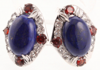 Sterling Silver Lapis & Gemstones Stud Earrings at PristineAuction.com