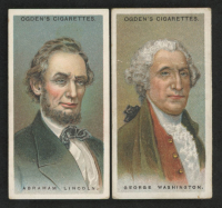 Lot of (2) 1924 Ogden's Leaders of Men Trading Cards wirth #46 George Washington & #28 Abraham Lincoln at PristineAuction.com