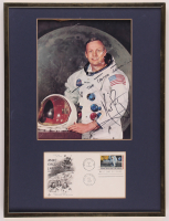 Neil Armstrong Signed 12.5x16.5 Custom Framed Photo Display with FDC Envelope (JSA ALOA) at PristineAuction.com
