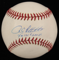 """Andy Pettitte Signed OML Yankees Logo Baseball Inscribed """"4x WS Champs"""" (JSA COA) at PristineAuction.com"""