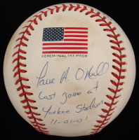 "Paul O'Neill Signed LE 2001 World Series Baseball Inscribed ""Last Game at Yankee Stadium 11-01-01"" (JSA COA) at PristineAuction.com"