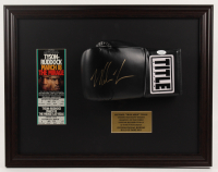 Mike Tyson Signed 17.5x22.5 Custom Framed Boxing Glove with Original Fight Ticket (JSA COA) at PristineAuction.com
