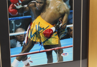 "Thomas ""Hitman"" Hearns & Sugar Ray Leonard Signed 14x22 Custom Framed Photo Display with Original $200 Fight Ticket (PSA COA) at PristineAuction.com"