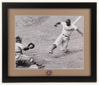 "Jackie Robinson Dodgers ""Robinson Stealing Home"" 16x19 Custom Framed Photo Display with 50th Anniversary Pin at PristineAuction.com"