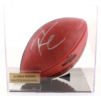 """Rusell Wilson Signed Official NFL """"The Duke"""" Game Ball with Display Case (PSA COA) at PristineAuction.com"""