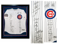 2016 Cubs 35x42 Custom Frame Jersey Team-Signed by (26) with Kris Bryant, Anthony Rizzo, Ben Zobrist, Theo Epstein, Javier Baez (Schwartz COA & Fanatics Hologram) at PristineAuction.com
