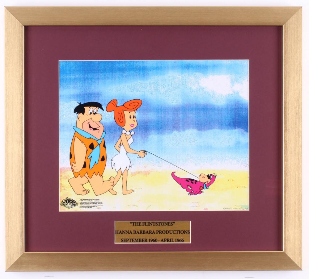 The Flintstones 16x18 Custom Framed Animation Seri Cel Display at PristineAuction.com