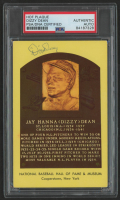 Dizzy Dean Signed Hall of Fame Gold Plaque Postcard (PSA Encapsulated) at PristineAuction.com