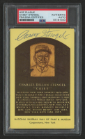 Casey Stengel Signed Gold Hall of Fame Plaque Postcard (PSA Encapsulated) at PristineAuction.com