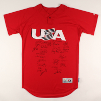 2013 World Baseball Classic Team USA Jersey Team-Signed by (30) with Adam Jones, Greg Maddux, David Wright, Joe Torre, Eric Hosmer, Craig Kimbrel (JSA ALOA) at PristineAuction.com
