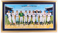 500 Home Run Club 24x42 Custom Framed Print Display Signed by (11) with Mickey Mantle, Ted Williams, Frank Robinson, Willie Mays, Hank Aaron (PSA LOA) at PristineAuction.com