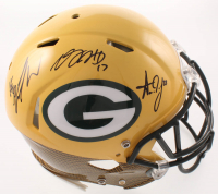 Davante Adams, Aaron Jones & Jamal Williams Signed Packers Full-Size Authentic On-Field Hydro-Dipped Speed Helmet (JSA COA) at PristineAuction.com