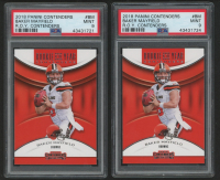 Lot of (2) PSA Graded 9 Baker Mayfield 2018 Panini Contenders Rookie of the Year Contenders #1 RC Football Cards at PristineAuction.com