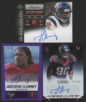 Lot of (3) Jadeveon Clowney Autograph Football Cards with 2014 Panini Hot Rookies Rookie Signatures Purple #374, 2014 Prestige Draft Big Board Signatures #29, & 2014 Rookies and Stars Rookie Autographs Longevity Ruby #142 at PristineAuction.com