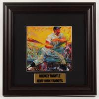 "LeRoy Neiman ""Mickey Mantle"" 13x13 Custom Framed Print Display at PristineAuction.com"