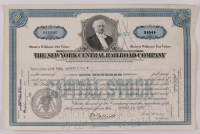 "Vintage 1938 ""The New York Central Railroad Company"" (100) Shares Stock Certificate at PristineAuction.com"