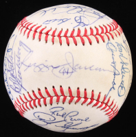 1980 Yankees OAL Baseball Team-Signed by (24) with Reggie Jackson, Yogi Berra, Goose Gossage, Gaylord Perry, Rick Cerone, Tommy John, Ron Guidry (SOP LOA) at PristineAuction.com
