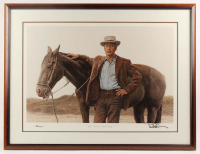 Paul Newman & James Bama Signed 28x37 Custom Framed Lithograph Display (AutographCOA LOA) at PristineAuction.com