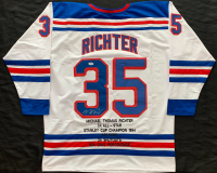 Mike Richter Signed Career Highlight Stat Jersey (PSA COA) at PristineAuction.com