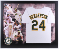 "Rickey Henderson Signed Athletics 35.5x43.5 Custom Framed Jersey Inscribed ""HOF 2009"" & ""All Time S.B. King 1406"" (JSA COA) at PristineAuction.com"